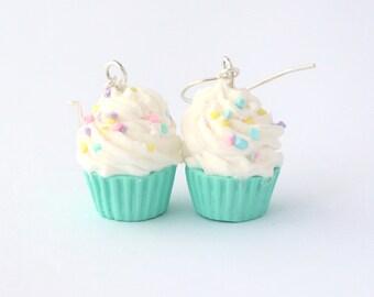 Pastel miniature earrings, Pastel cupcake Polymer clay, miniature food jewelry, cupcake miniature