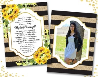 Rustic Quinceanera Invitation Spanish Sunflower Quinceanera Invitations Sweet 15 Invitations Quince Años Invites