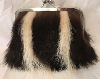 Genuine Skunk Fur Clutch Purse