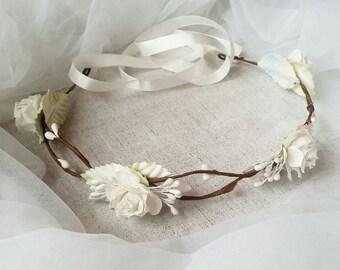 Bridal Flower Crown, Flower Girl Crown, Woodland Headdress, Boho Wedding Headpiece, Bridal Head Wreath, Rose Flower Crown - Boho Wedding