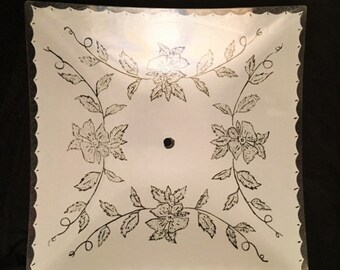 Ceiling light cover - white with flowers and scalloped edge designs