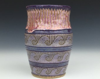 nautical ceramic cup, purple ceramic tumbler, wheel thrown cup, ocean decor, ocean waves, water, purple ceramic cup, pottery cup
