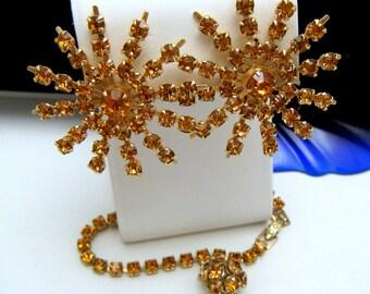 Vintage Rhinestone Earring Bracelet Set Charm Dangle Starburst Topaz Glass