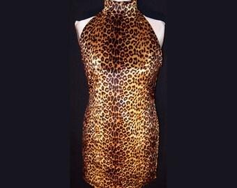 Mini Dress Leopard Print Stretch Velvet with Halter Top - Medium Sleeveless Turtleneck Short Dress Animal Print
