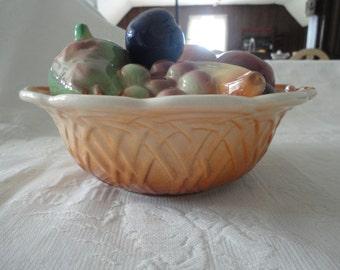 Vintage Fruit Basket Porcelain Lidded Summer Decorative Bowl