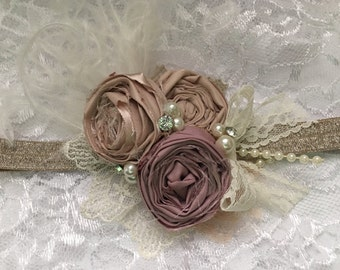 vintage rosette headband, baby headband, beige headband, dusty rose headband, newborn headband, ott bow, over the top bow