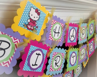 Rainbow Hello Kitty Happy Birthday Banner - Hot Pink Chevron, Blue Polka Dots & Purple, Lime and Yellow Accents - Party Packs Available