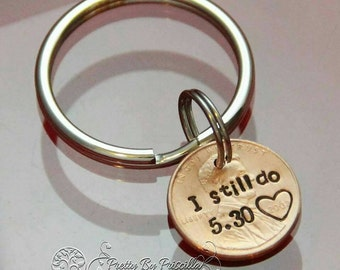 Hand stamped penny keychain with personalization
