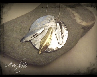 """Stainless steel and brass chain necklace Nymphs """"Syrinx"""" reed leaves Elven Fairy Art Nouveau plant"""