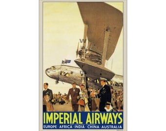 Imperial Airways #2 - Digitally restored vintage travel poster