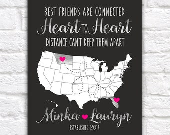 Gift for Best Friends, Long Distance, Hometowns Personalized Map Art Print for Home Decor, Wall Art, Dorm, Pen Pals, Friends Forever | WF161