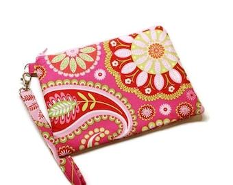 Gorgeous pink boho style floral double zippered wristlet phone purse. Spring vegan wristlet.