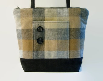 Grey Tan Beige Plaid Wool and Black Denim Handbag, Large Upcycled Repurposed Fabric Bag Purse, Womens Zippered Shoulder Bag Small Tote Bag