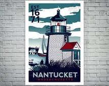 Nantucket Massachusetts Light House Retro Vintage nautical Screen Print poster Cape Cod - etsy