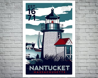 Nantucket Massachusetts Light House Retro Vintage nautical Screen Print poster Cape Cod - etsy