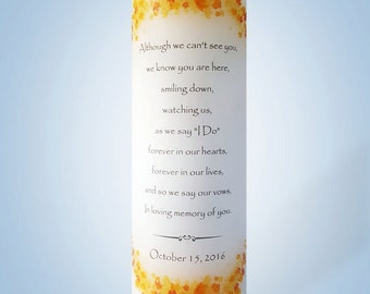 Personalized Fall Leaves Wedding Memorial Candle