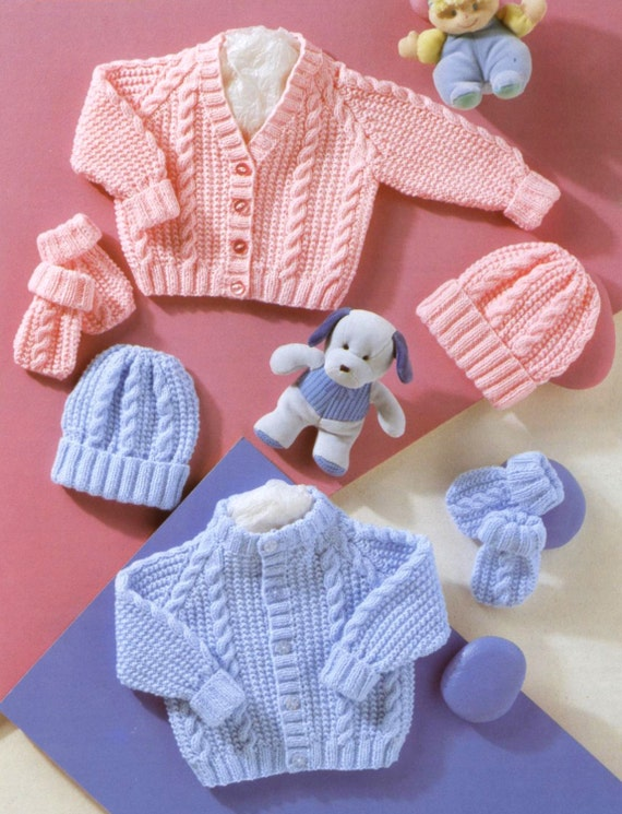 Vintage Knitting Pattern Pdf Baby Cable Pram Sets Cardigan