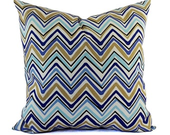 Two Outdoor Pillow Covers - Blue and Tan Pillows - Patio Pillows - Outdoor Pillows - Blue Pillow Cover - Blue Pillow - Chevron Pillow