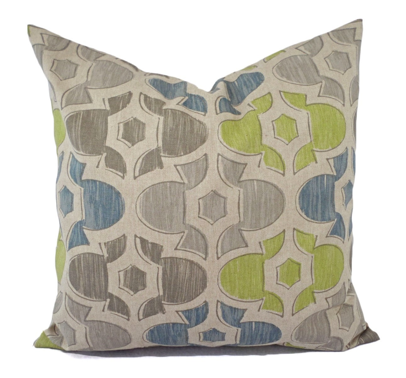 Blue And Green Decorative Throw Pillows : Two Brown Green and Blue Decorative Pillow Covers Two