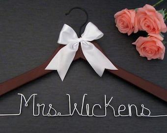 Wedding Hanger - Mrs Hanger - Bride Hanger - Wedding Dress Hanger - Name Hanger - Custom Hanger - Personalized Hanger - White Hanger
