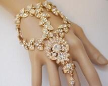 Vintage Style Bollywood Antique Gold Hand Harness Slave Bracelet Wedding Parties Bridal Bridesmaid Boho