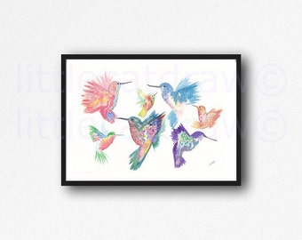 Bird Print Hummingbird Print Family Illustration Art Watercolor Painting Print Hummingbirds Unframed Art Print Littlecatdraw