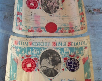 Set of Two Early 1900's Daily Vacation Bible School Certificates
