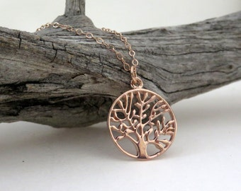 Rose Gold Tree of Life Necklace, rose gold necklace, family tree, round tree of life, family jewelry, personalized message, pink, nature
