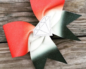 Ombre diamond glitter bow. Available in any color combination .