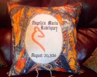 Custom Orange Camo Doe personalized pillow
