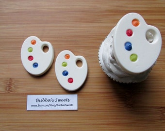 PAINT PALETTE Chocolate Cupcake Toppers (24) - ART Party/Art Favors/Painting Party
