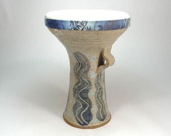 Stoneware Pottery Doumbek Darbuka Belly Dance Hand Drum, Goatskin Head