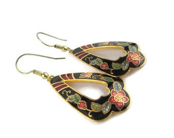 Vintage Gold Tone Black Cloisonne Floral Butterfly Earrings