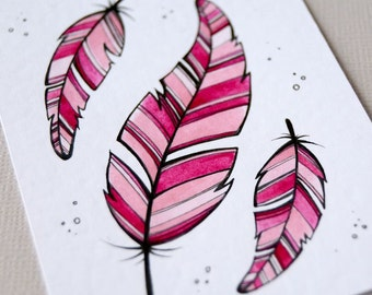 pink feathers - original aceo