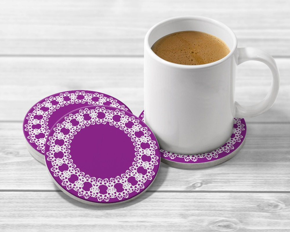 Purple drink coaster set 4 purple coasters and wedding - Coaster sets for drinks ...