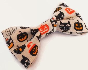 creepy cute halloween hair bow - jack 'o lantern - black cat - trick or treat - novelty accessory