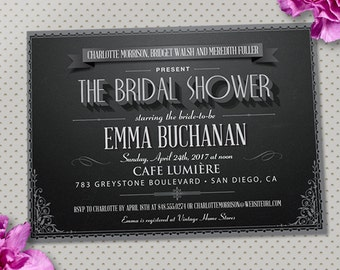 Vintage Movie Title Screen Bridal Wedding Shower Party Invitation, Printable, Evite or Printed (US Only) Invitations
