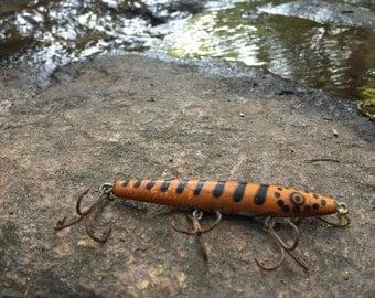 Vintage Eger Bait Mfg Co Dillinger No 404 Wood Fishing Lure Orange With Black Striped 1940s Florida Bait