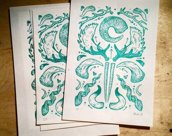 Horns & Antlers: Letterpress Print