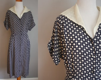 1940's Polka Dot Dress // Sheer and Collared // Large