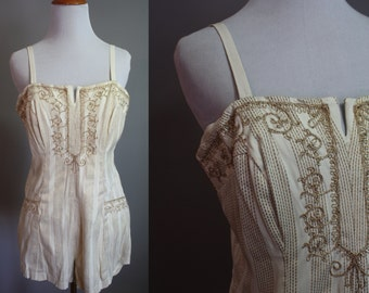 1950's Swimsuit // White & Gold Embroidery // Medium