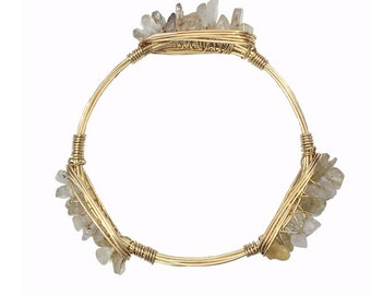 Rutilated Quartz Wire Bangle, Stones, Bracelet