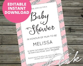 """Pink Silver Glitter Baby Shower 5x7"""" Invitation Printable Digital Pastel Blush Stripes Party Invite Instant Download Print Yourself"""