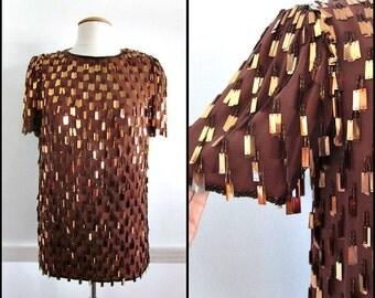 Copper Paillette Blouse / 80s Silk Fringed Pailette Top / fits S / Vintage Copper Beaded Top
