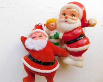 Christmas in July Sale - Vintage Santa Christmas Holiday Ornaments