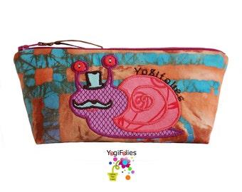 snail school kit, snail make up case, snail pouch, gastropod school kit, gastropod make up case, gastropod pouch, colored school kit