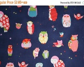 SALE Owl Fabric - SPOTTED OWL in  Midnight Blue from Alexander Henry Fabrics - In the Kitchen Owls