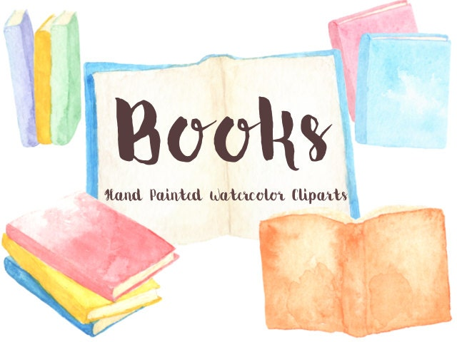 Books Party Watercolor Clipart Digital File Reading club (640 x 480 Pixel)