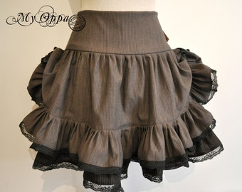 Skirt Steampunk gray/brown with black lace