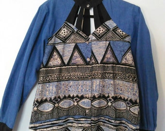ROUGHRIDER cutout blouse with denim and batik like print size M